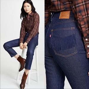 NWT Levi's Straight Wedgie Fringe Jeans